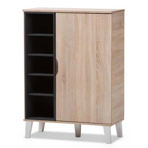 Adelina Mid - Century Modern 1 - Door Wood Shoe Cabinet - Brown - Baxton Studio - image 1 of 4