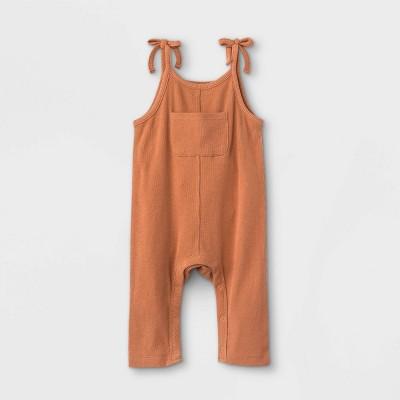 Grayson Mini Baby Girls' Bow Strap Front Pocket Romper - Orange 3-6M