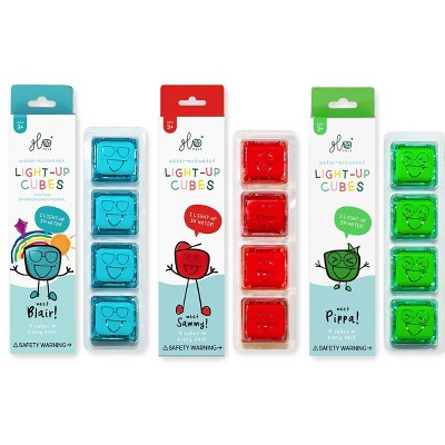 Glo Pals Light Up Water Cubes  - 12 Cubes of Red, Green & Blue