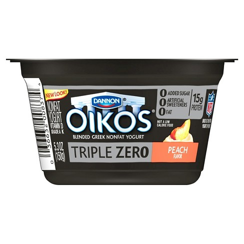 Dannon Oikos Triple Zero Peach Greek Yogurt - 5.3oz - image 1 of 1