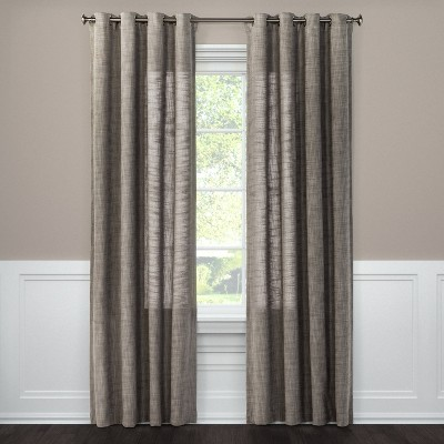 "84""x54"" Textured Weave Light Filtering Curtain Panel Gray - Threshold™"