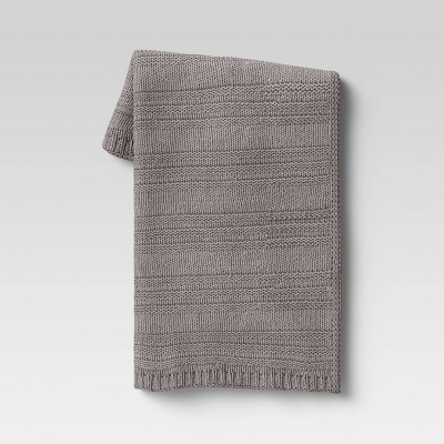 "50""x60"" Chunky Striped Knit Throw Blanket Gray - Threshold™"