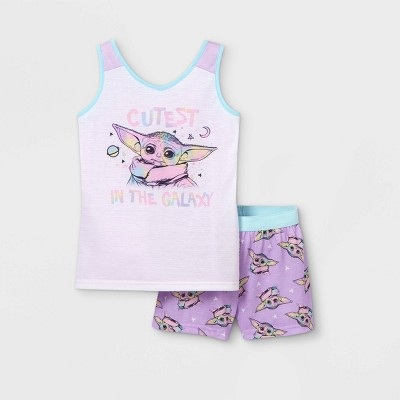 Girls' Star Wars Baby Yoda Cutest In The Galaxy 2pc Pajama Set - Blue/Purple
