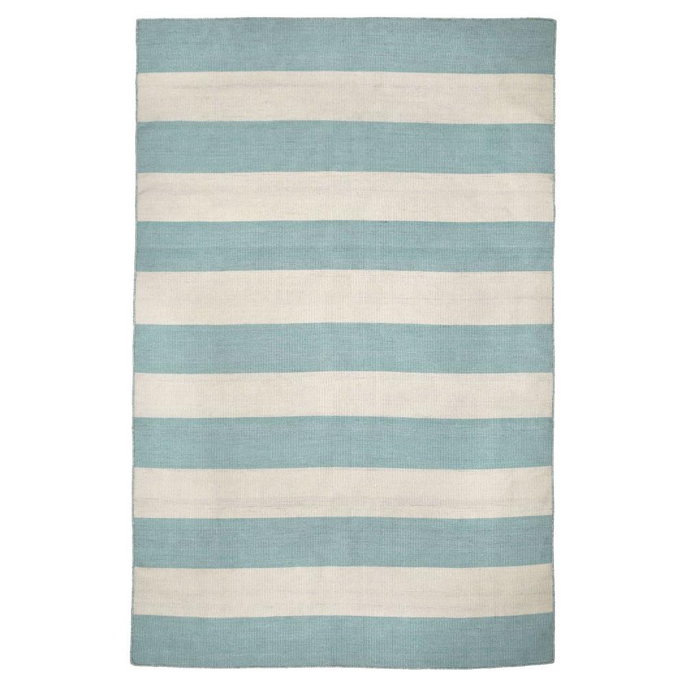 "Image of ""Sorrento Rugby Stripe Water Rug - Blue - (5'X7'6"""") - Liora Manne"""