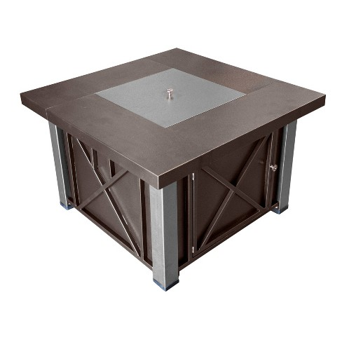 Square Powder Coated Steel Propane Fire Pit - Brown - AZ Patio Heaters - image 1 of 1