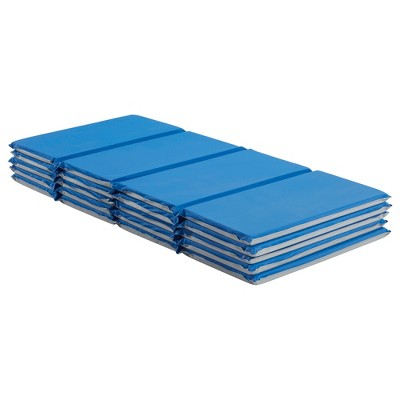 ECR4Kids Value 4-Fold Rest Mat, 1in Thick, Rest Time Sleeping Mat for Toddlers, 5-Pack - Blue/Grey