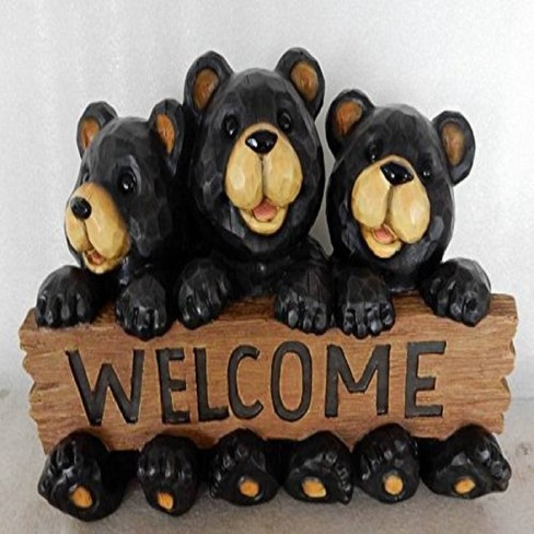 8 5 Polyresin Bear Family With Welcome Sign Outdoor Statue Black Hi Line Gift Target
