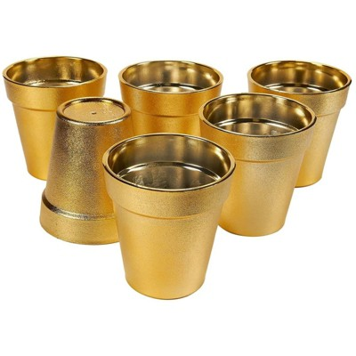 """Juvale 6 Pack Plastic Small Plant Pot, Flower Planter Pots for Indoor Outdoor Succulent, Gold, 3.6 x 3.6 x 4"""""""