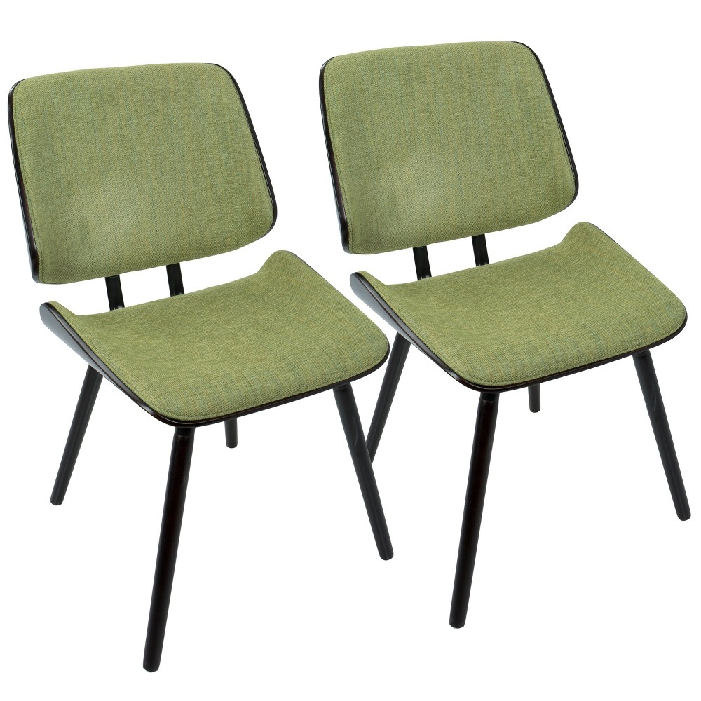 Lombardi Mid Century Modern Dining/Accent Chair Espresso/Green - Lumisource