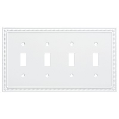 Franklin Brass Classic Beaded Quad Switch Wall Plate White