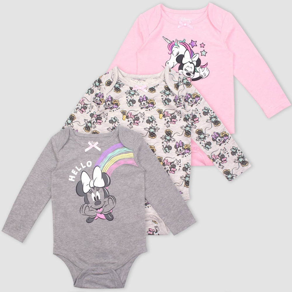 Image of Baby Girls' 3pk Disney Mickey Mouse Rompers - Pink 0-3M, Girl's, Gray Pink
