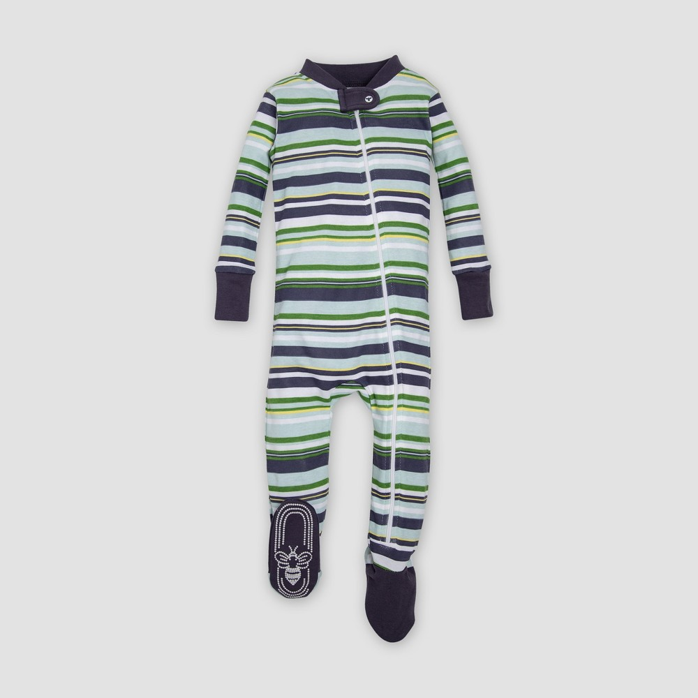 Burt's Bees Baby Organic Cotton Boys' Vintage Stripe Sleeper - Indigo/Green 6-9M, Blue