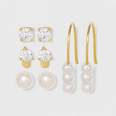 Sterling Silver with Cubic Zirconia and Glass Pearl Stud Earring Set 4pc - A New Day™ - Gold