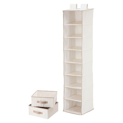 Honey-Can-Do 8 Shelf Organizer and 2 Drawers Natural