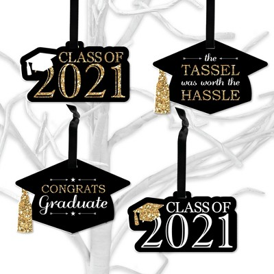 Big Dot of Happiness Tassel Worth The Hassle - Gold - 2021 Graduation Decorations - Tree Ornaments - Set of 12
