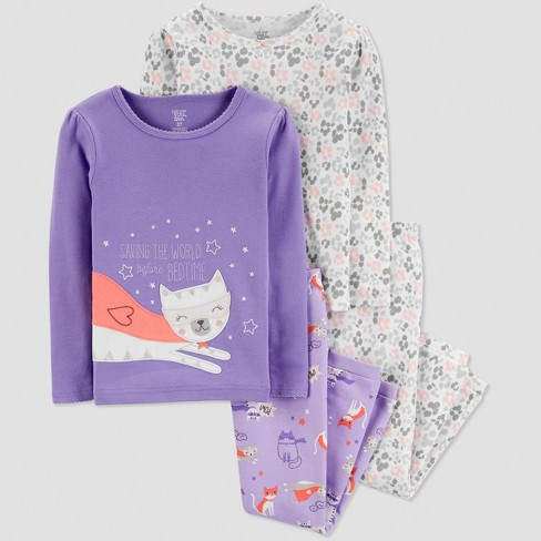 d351061d2 Baby Girls  4pc Cat Pajama Set - Just One You® Made By Carter s ...