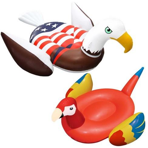 Swimline Patriotic American Bald Eagle Inflatable Pool Float + Parrot Float - image 1 of 6