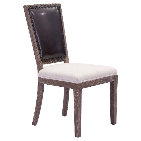 Classic Upholstered and Antiqued Oak Wood Dining Chair (Set of 2) - Beige - ZM Home - image 1 of 1