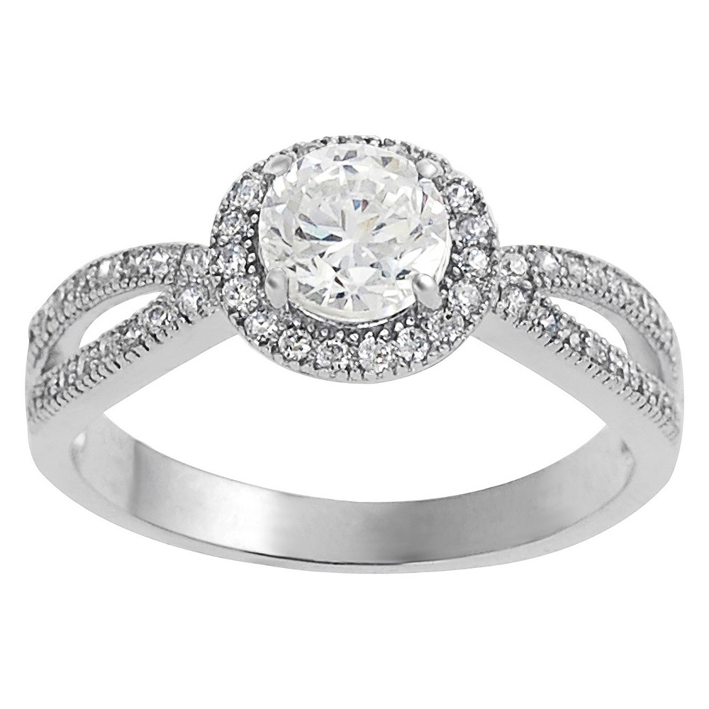 3/4 CT. T.W. Tressa Round Cut Cubic Zirconia Prong Set Bridal Style Ring in Sterling Silver - Silver (5), Women's