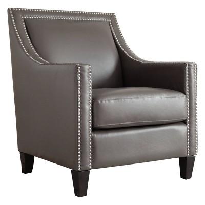 Nixon Faux Leather Nailhead Armchair - Abbyson Living