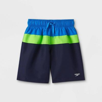 Speedo Boys' Electric Colorblock Swim Trunks - Blue/Green
