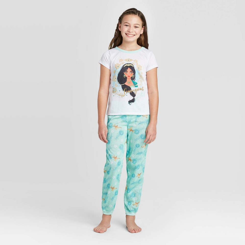 Image of Girls' Jasmine 'Courageous' 2pc Pajama Set - White 10, Girl's