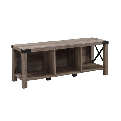 Farmhouse Wood & Metal Entry Bench - Saracina Home