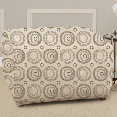 Stretch Printed Velvet Circle Ottoman Slipcover - Sure Fit