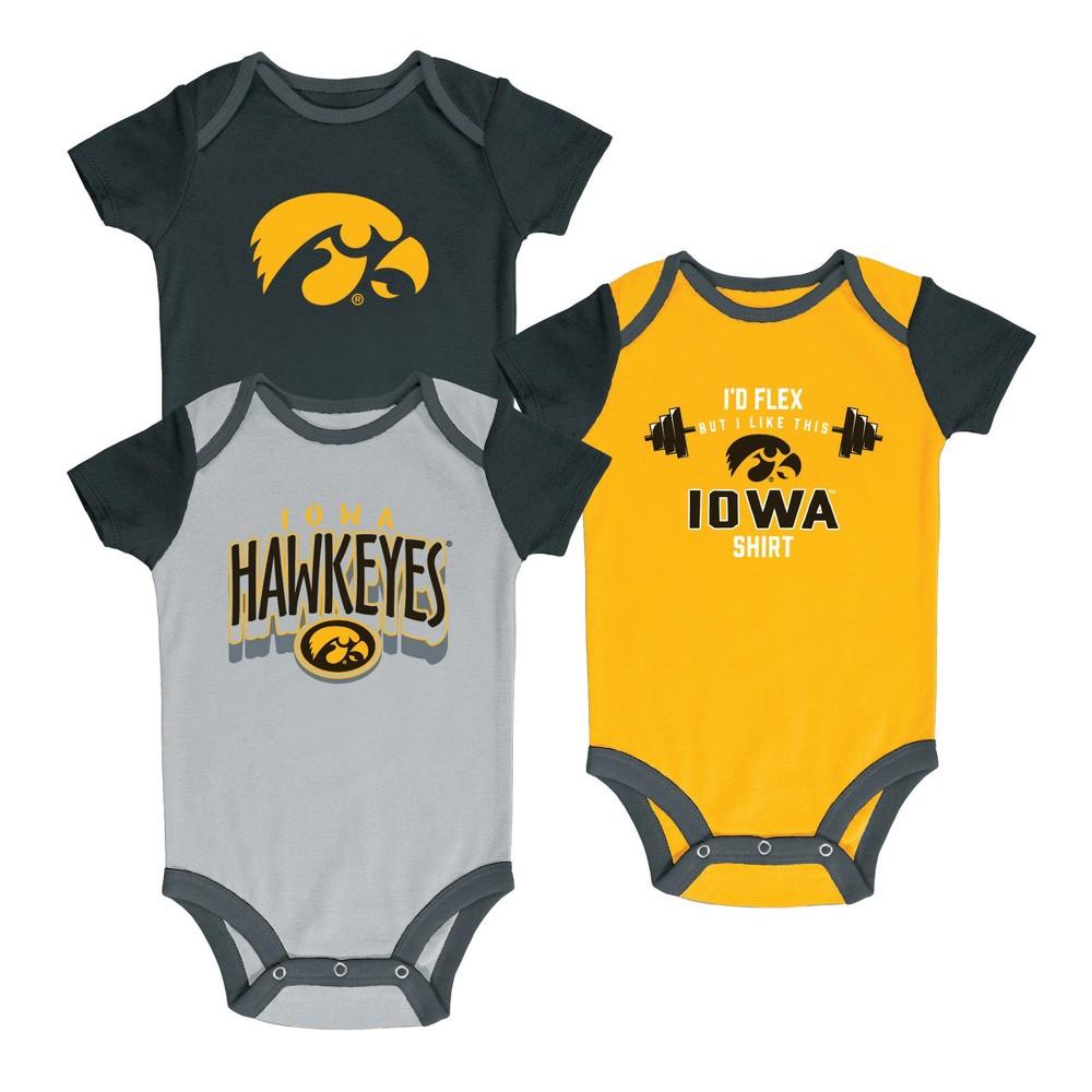 NCAA Baby Boys' 3pk Bodysuit Iowa Hawkeyes - 3-6M, Multicolored