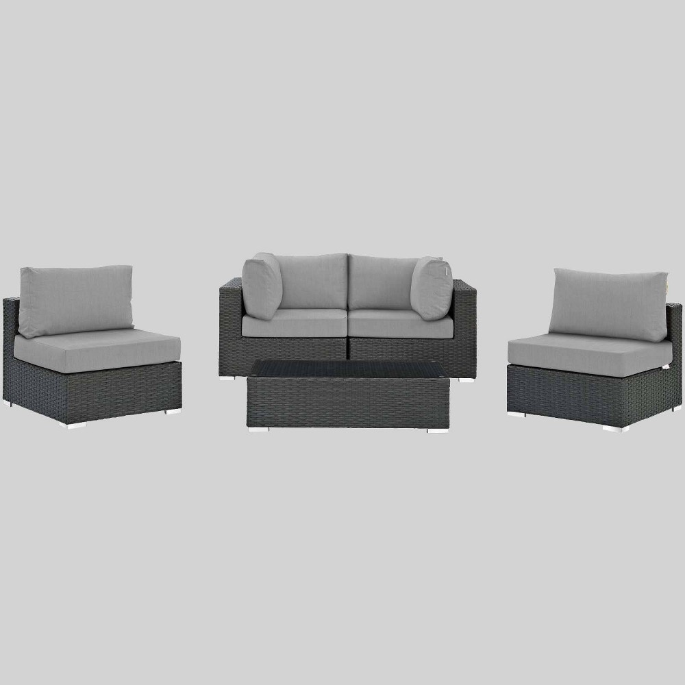 Sojourn 5pc Outdoor Patio Sectional Set with Sunbrella Fabric - Gray - Modway