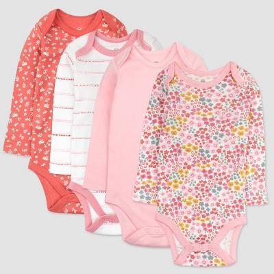 Honest Baby Girls' 4pk Organic Cotton Meadow Floral Long Sleeve Bodysuit - Pink/White 0-3M