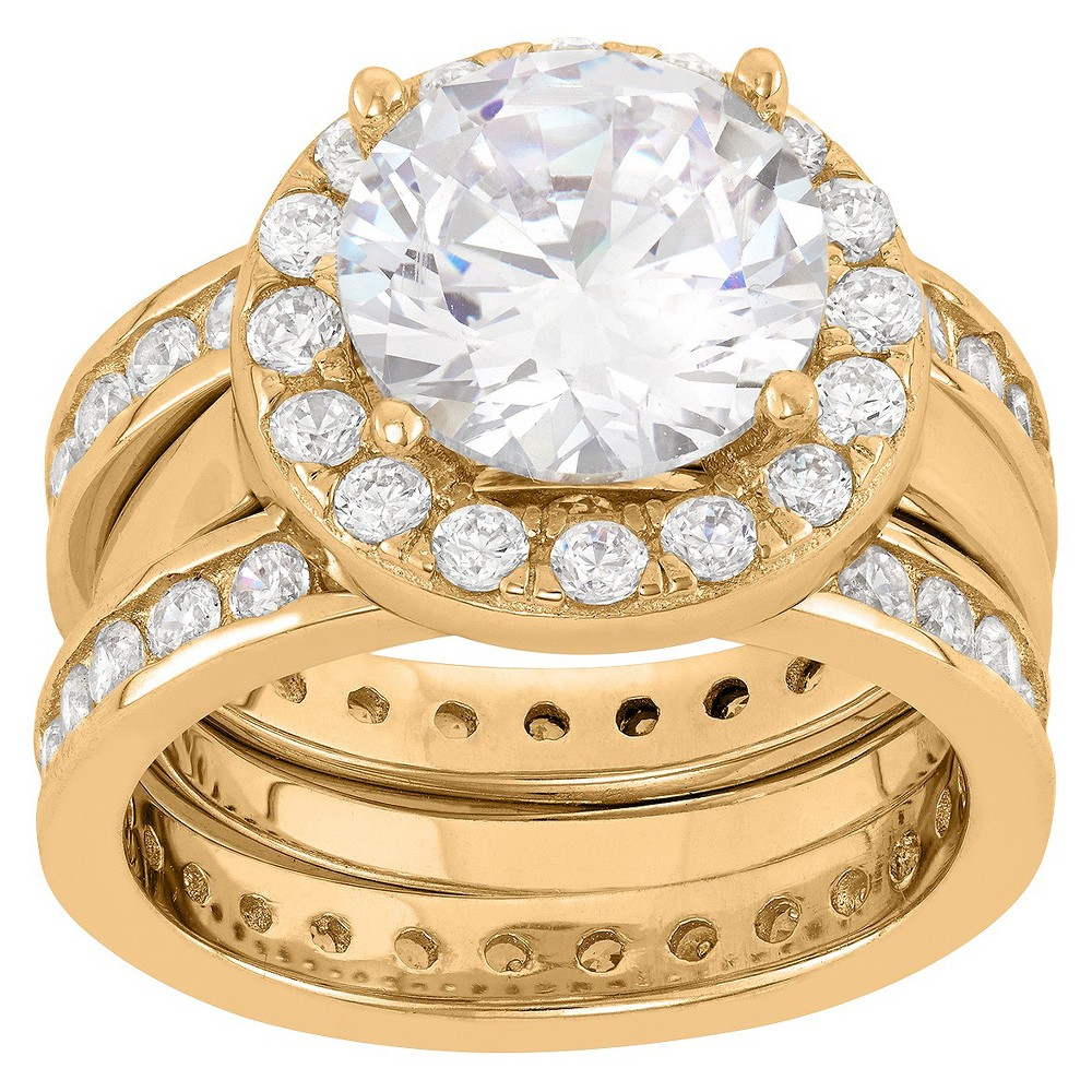 5.87 CT. T.W. Round-Cut 3-Piece Bridal Cubic Zirconia Ring Set In 14K Gold Over Silver - (7), Girl's, Yellow