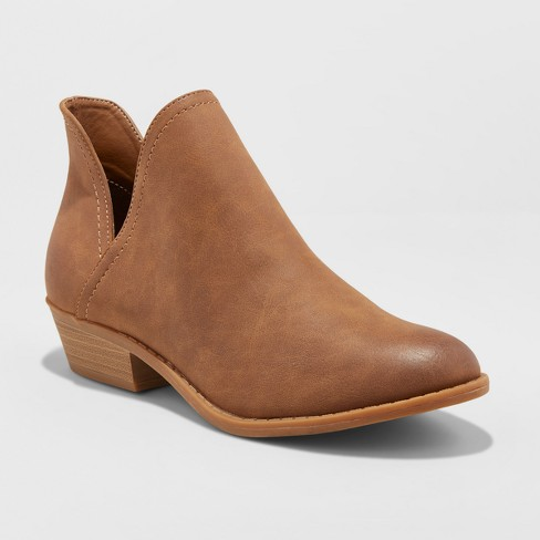 Women's Nora V-Cut Ankle Wide Width Booties - Universal Thread™ Cognac 6W - image 1 of 3