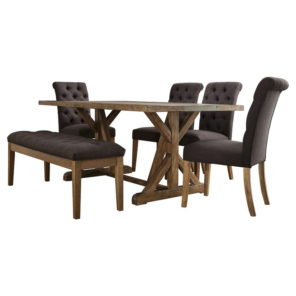 Sullivan 6-Piece Concrete Stripe Dining Set - Tufted Dark Gray Linen