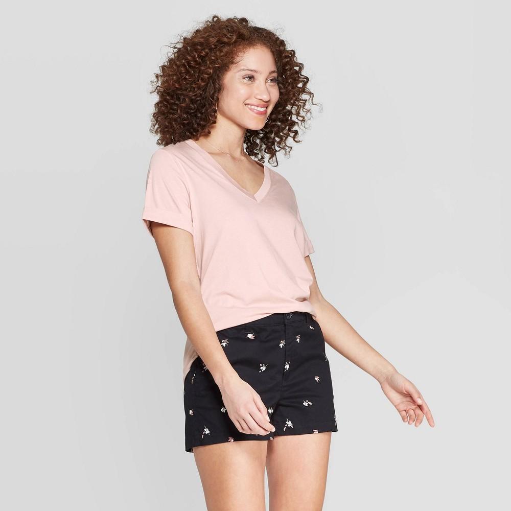 Best Review Women Short Sleeve V Neck T Shirt A New Day Pink XL