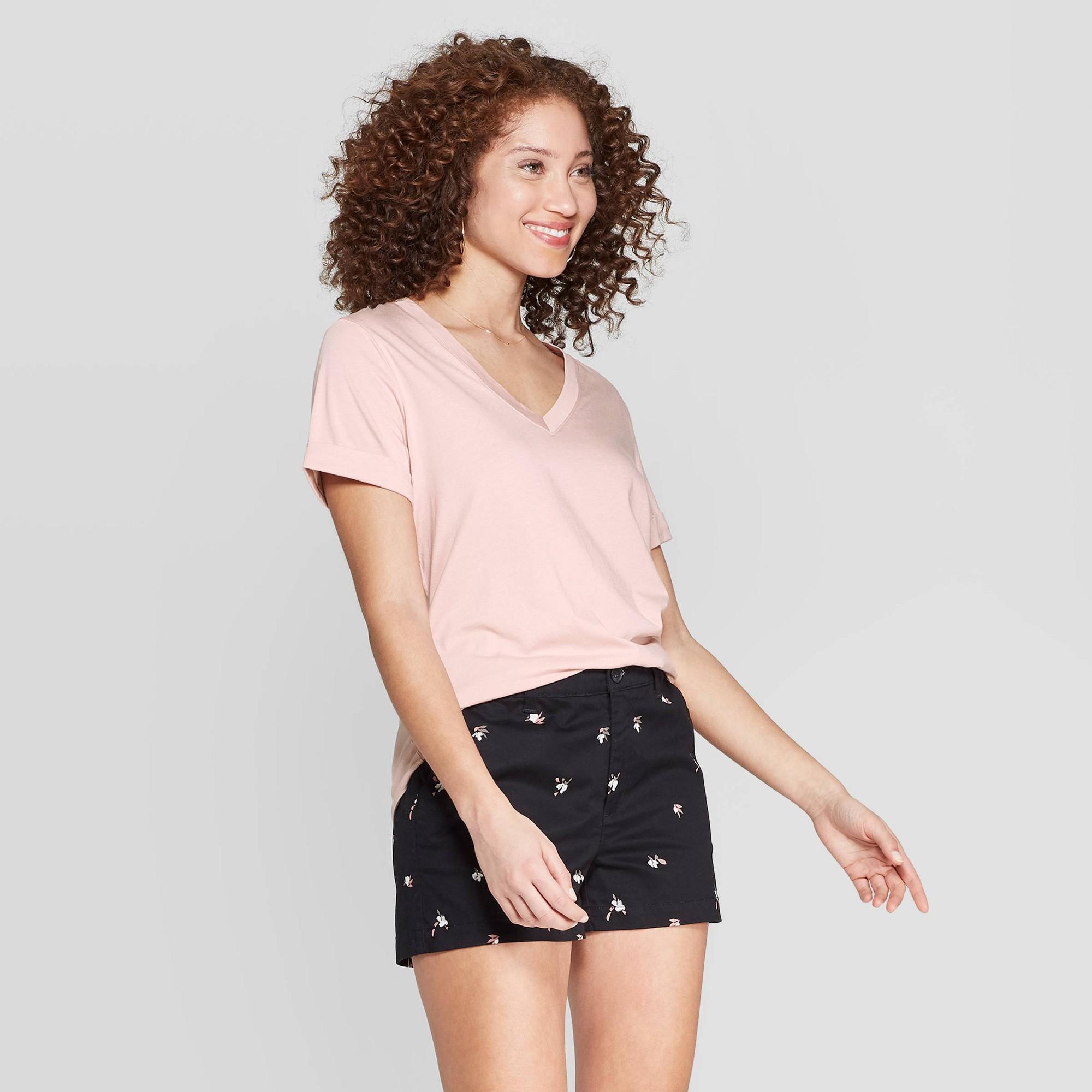 Women's Short Sleeve V-Neck T-Shirt - A New Day Pink XL