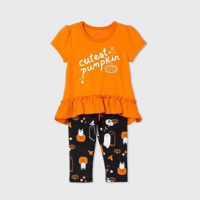 Baby Girls' 'Cutest Pumpkin' Short Sleeve Top & Bottom Set - Cat & Jack™ Orange 0-3M
