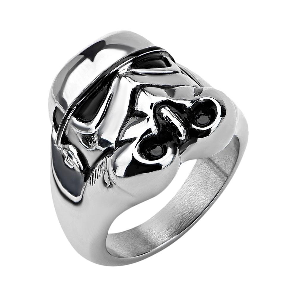 Cheap Mens Star Wars Stainless Steel Stormtrooper 3D Ring Best Seller Silver Silver