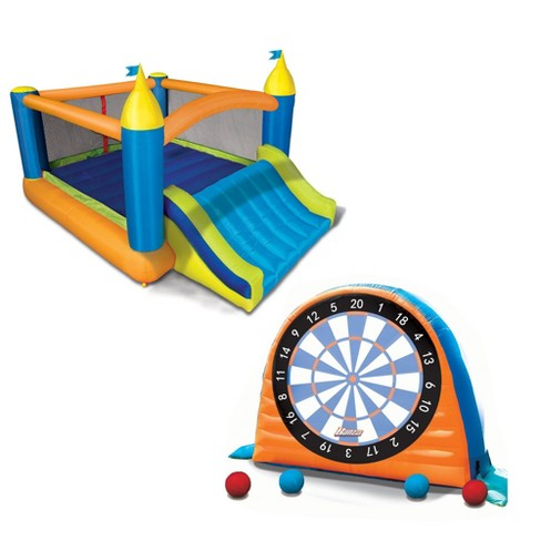 Banzai Sports 2 In 1 Kick And Stick Darts And Slide And Bounce House Combo Pack - image 1 of 6