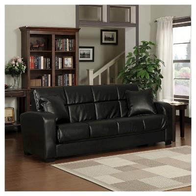Damen Convert A Couch Renu Leather Futon Sofa Sleeper   Handy Living :  Target