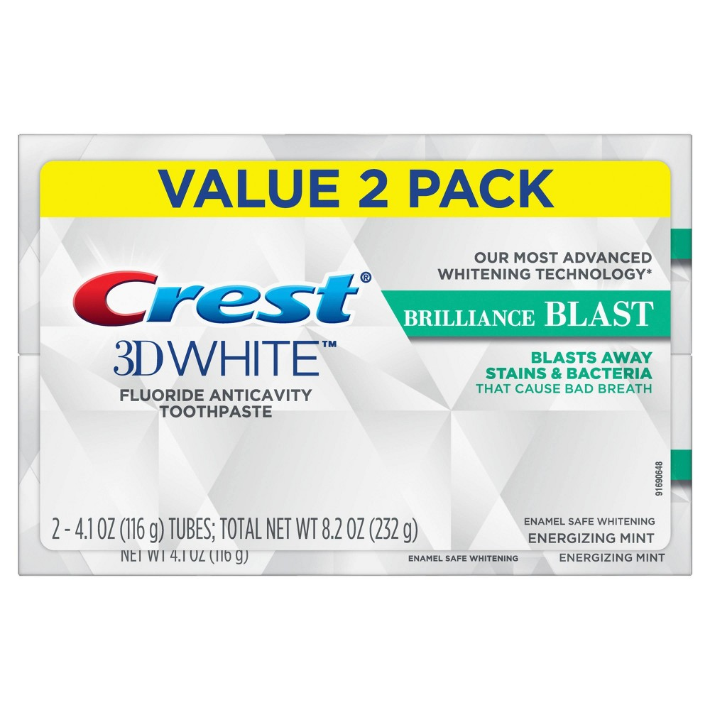 Image of Crest 3D White Brilliance Blast Whitening Toothpaste Energizing Mint - 4.1oz/2pk
