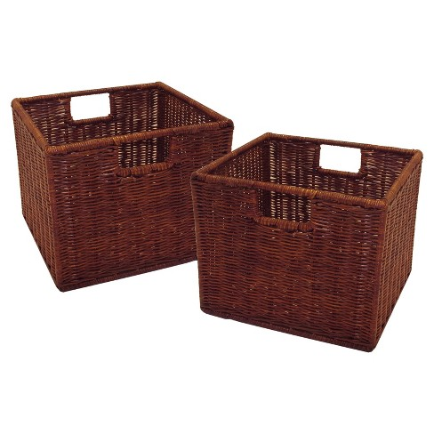 Leo Set of 2, Wired Basket, Small - Antique Walnut - Winsome - image 1 of 2