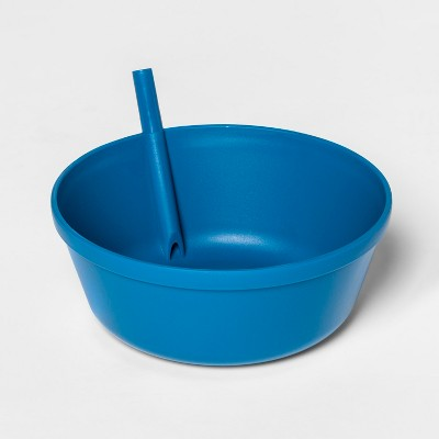 13.5oz Plastic Kids Bowl with Built In Straw Blue - Pillowfort™