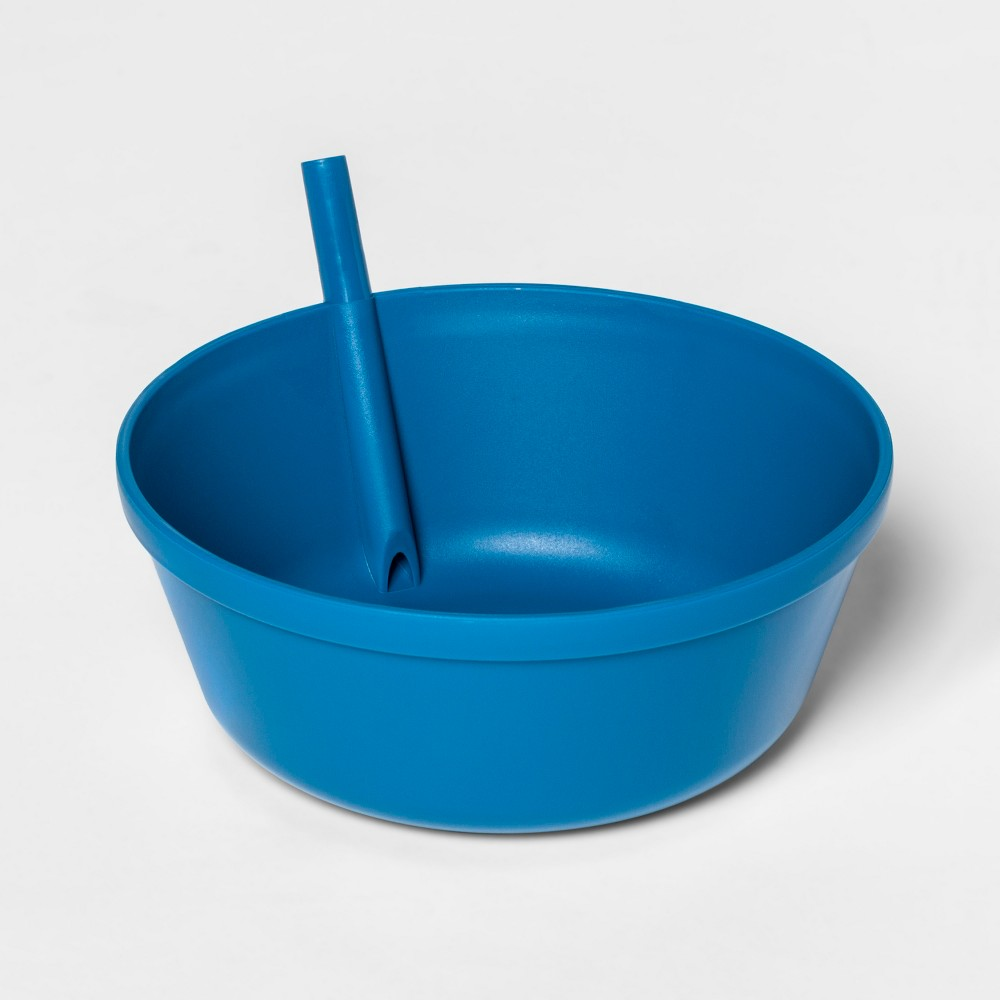 Image of 13.5oz Plastic Kids Bowl with Built In Straw Blue - Pillowfort