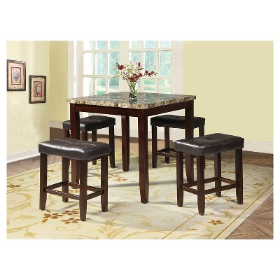 Rolle 5 Piece Counter Height Dining Set   Faux Marble And Espresso   Acme :  Target