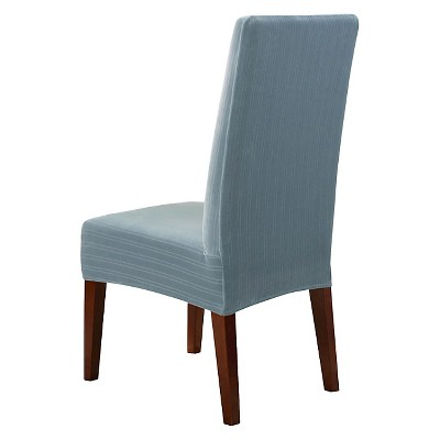 Stretch Pinstripe Short Dining Room Chair Cover
