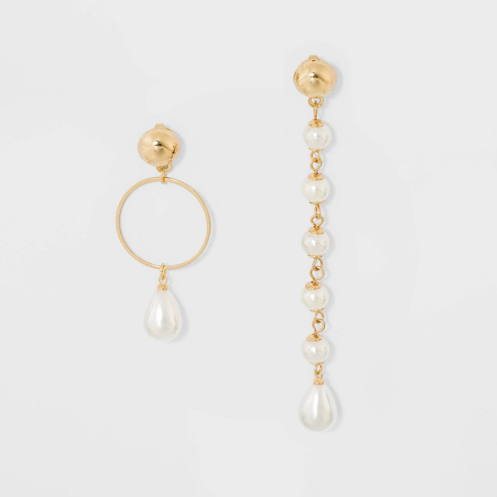 Image of Acrylic/Glass Earrings - A New Day Pearl/Gold, Women's