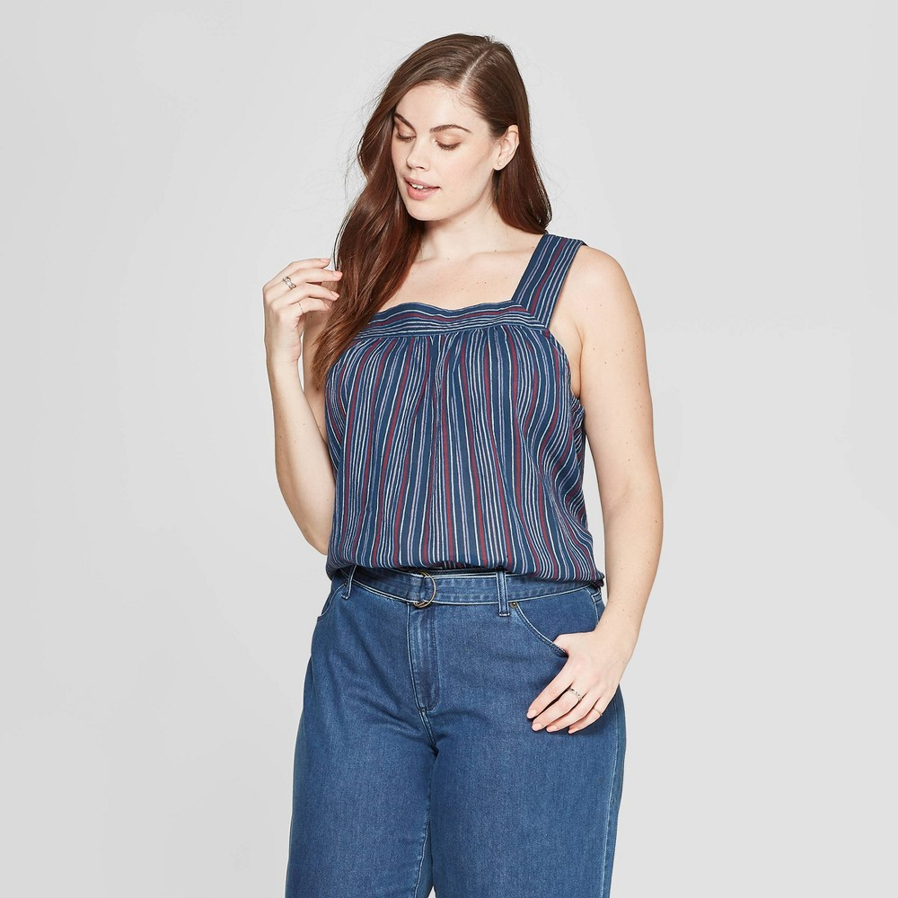 Women's Plus Size Striped Sleeveless Square Neck Top - Universal Thread Navy 3X, Blue