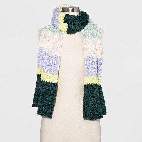 Women's Striped Waffle Stitch Scarf - Universal Thread™ - image 1 of 2