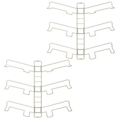 mDesign Metal Shoe Display & Storage Rack, 3 Tier, Wall Mount, 2 Pack